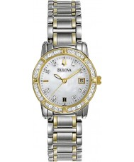 Bulova 98W107 Ladies diamante dois tons pulseira de aço relógio