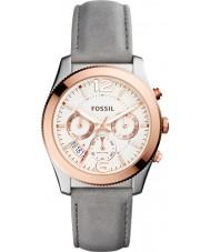 Fossil ES4081 Ladies namorado perfeito couro cinza relógio multifuncional
