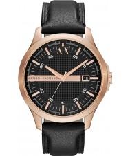 Armani Exchange AX2129 Homens aumentou de couro preto vestido de alça relógio de ouro