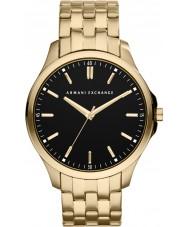Armani Exchange AX2145 ouro negro dos homens banhado relógio de vestido pulseira