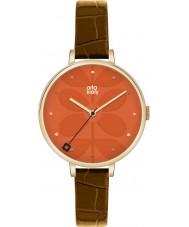 Orla Kiely OK2028 Ladies hera marrom relógio de pulseira de couro
