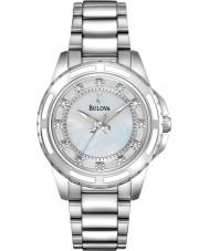 Bulova 96S144 Damas de diamante de aço de prata pulseira de relógio