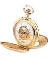 Rotary MP00713-01 Mens ouro esqueleto mecânico banhado relógio de bolso