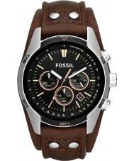 Fossil CH2891 Mens cocheiro marrom preto relógio cronógrafo