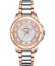 Bulova 98S134 Ladies diamante dois tons pulseira de aço relógio
