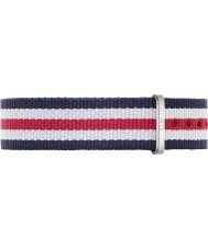 Daniel Wellington DW00200051 Ladies clássico Canterbury 36 milímetros prata nylon azul e vermelho alça de reposição
