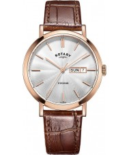 Rotary GS05304-02 Mens relógios Windsor rosa banhado a ouro de couro marrom pulseira de relógio