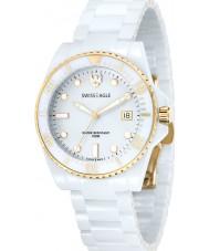 Swiss Eagle SE-9051-22 Mens mergulhar relógio pulseira de cerâmica branca geleira