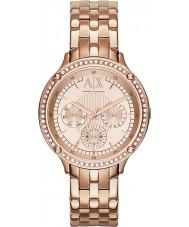 Armani Exchange AX5406 Senhoras rosa banhado a ouro relógio de vestido pulseira