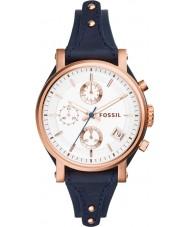 Fossil ES3838 As senhoras originais namorado relógio azul cronógrafo