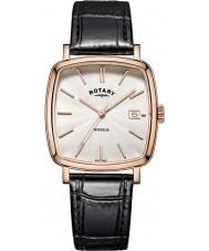 Rotary GS05309-01 Mens relógios Windsor subiu banhado a ouro pulseira de relógio de couro preto