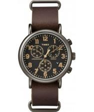 Timex TW2P85400 marrom relógio de couro cronógrafo Weekender