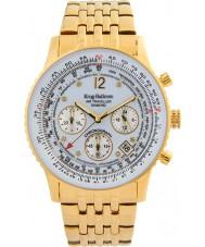Krug-Baumen 400101DS viajante Air mostrador branco pulseira de aço de ouro