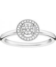 Thomas Sabo D-TR0008-725-14-54 Ladies ENCANTO e alma 925 prata esterlina anel de diamante - tamanho O (UE 54)