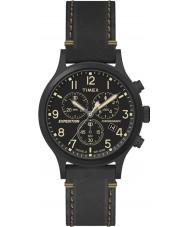 Timex TW4B09100 Mens expedição de couro preto relógio pulseira