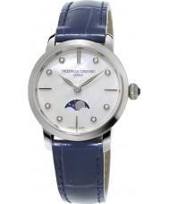 Frederique Constant FC-206MPWD1S6 Ladies moonphase fino couro azul relógio de pulseira
