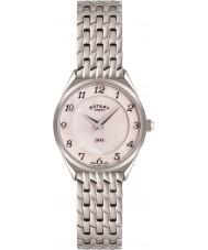 Rotary LB08000-18 Ladies ultra slim prata relógio de aço tom