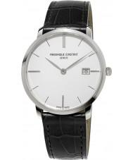Frederique Constant FC-220S5S6 senhores Slimline de couro preto relógio pulseira