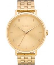 Nixon A1090-502 Ladies arrow tudo relógio pulseira de aço de ouro