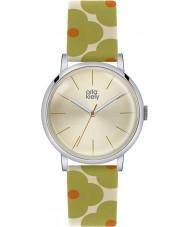 Orla Kiely OK2035 Senhoras patricia laranja couro florido pulseira de relógio verde