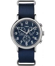 Timex TW2P71300 deslizamento Weekender através azul crono relógio