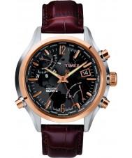 Timex T2N942 Mens Watch tempo de preto mundo marrom