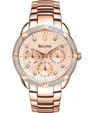 Bulova 98W178 Ladies diamante rosa banhado a ouro relógio cronógrafo