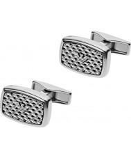 Emporio Armani EGS2144040 abotoaduras de prata aço tonneau malha Mens