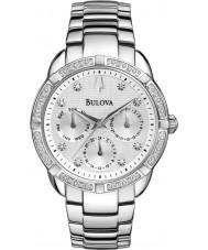 Bulova 96R195 Damas de diamante de aço de prata pulseira relógio cronógrafo