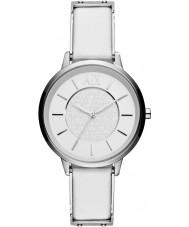 Armani Exchange AX5300 Senhoras couro branco relógio vestido de alça