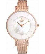Obaku V158LEVWMV Ladies set pedra rosa banhado a ouro de malha pulseira relógio