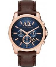 Armani Exchange AX2508 azul relógio de vestido cronógrafo marrom escuro dos homens