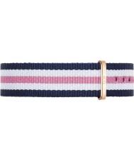 Daniel Wellington DW00200034 Ladies clássico Southampton 36 milímetros rosa azul e rosa de nylon cinta de reposição de ouro branco