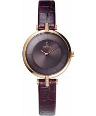 Obaku V168LEVNRN Senhoras rosa banhado a ouro pedra definir couro marrom pulseira de relógio