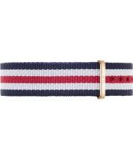 Daniel Wellington DW00200030 Ladies clássico Canterbury 36 milímetros rosa azul e vermelho nylon cinta de reposição de ouro branco