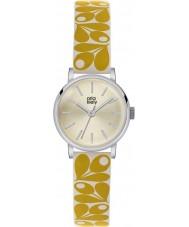 Orla Kiely OK2037 Ladies patricia bolota impressão de creme amarelo relógio de pulseira de couro