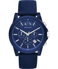 Armani Exchange AX1327 Esporte azul silicone relógio cronógrafo