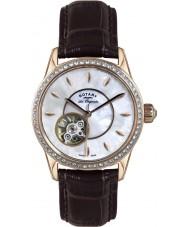 Rotary LS90515-41 Ladies les originales jura couro marrom automático relógio correia