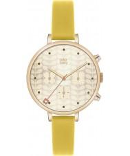 Orla Kiely OK2038 Ladies hera cronógrafo de ouro couro amarelo relógio de pulseira