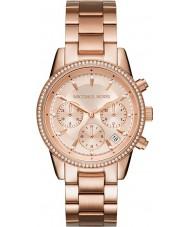 Michael Kors MK6357 Ladies Ritz rosa banhado a ouro relógio cronógrafo