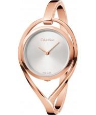 Calvin Klein K6L2M616 luz das senhoras rosa banhado a ouro relógio da pulseira