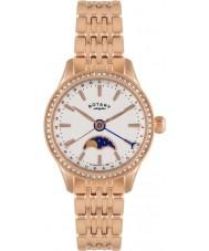 Rotary LB02854-01 Senhoras relógios beaumont moonphase subiu relógio de ouro
