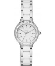 DKNY NY2494 Senhoras câmaras ligações de cerâmica branca relógio de aço