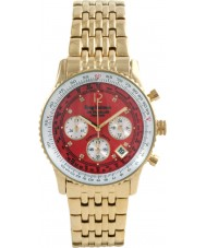 Krug-Baumen 400105DS viajante de ar de marcação vermelho pulseira de aço de ouro