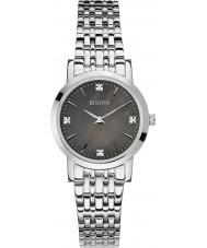 Bulova 96S148 Galeria de diamante feminino prata pulseira de relógio