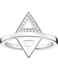 Thomas Sabo D-TR0019-725-14-54 Ladies ENCANTO e alma 925 prata esterlina anel de diamante - tamanho O (UE 54)