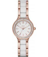 DKNY NY2496 câmaras senhoras ligações de cerâmica branca subiu relógio de ouro