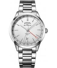 Rotary GB90181-02 Mens les originales tradição de prata pulseira de aço relógio
