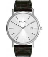 Bulova 96B104 vestido Mens couro preto relógio pulseira