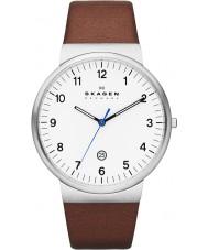 Skagen SKW6082 Mens Klassik marrom relógio de pulseira de couro